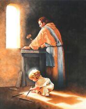 DESTINY Boy Jesus Nail Spikes in Joseph's Carpenter Shop 20x16 Canvas Art Print