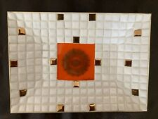 Vtg Georges Briard mosaic Glass Tile Tray signed Regalia Pattern white/gold Mcm