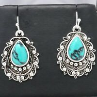 Gorgeous Blue Turquoise Hoop Earrings Sterling Silver Vintage Antique Jewelry