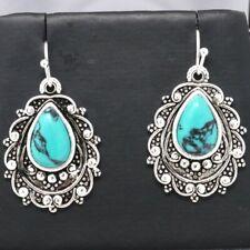 Boho Jewelry Turquoise Hook Earrings Birthday Vintage Antique Gift Nickel Free