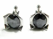 Vintage Manleigh Cufflinks Cuff Links Silver Tone Black Faceted Stones