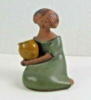 Vintage UCTCI Stoneware Japan Woman Figurine Holding Flower Pot Speckled Glaze