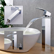 Waterfall Counter Top Basin Mixer Tap Taps Bathroom Sink Tall Chrome faucet