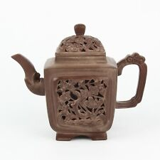 Antique Chinese Collection Hollow Flower Yixing Zisha Pot Teapot