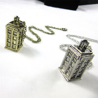 Chain Pendant 3D Doctor Who TARDIS Police Box Pewter Tall Necklace 2 Types WG