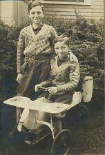 1920s Portrait of Two Boys, Matching Sweaters, WWI Era Style Airplane Pedal Car