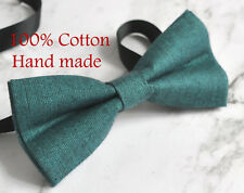 Baby Boy Kids 100% Cotton Handmade PEACOCK GREEN Bow Tie Bowtie Party Wedding