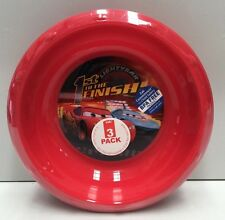 DISNEY CARS KIDS PLASTIC MEALTIME BOWLS X 3  ZAK DESIGNS