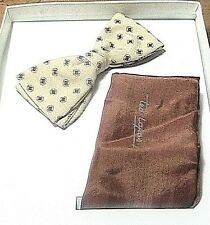 Ted Lapidus 1960s Men Silk Bow Tie & Pocket Square Set~Made In France~New In Box