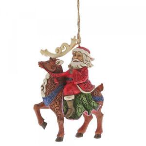 Heartwood Creek Hanging Ornament Santa Riding Reindeer by Jim Shore 6004305