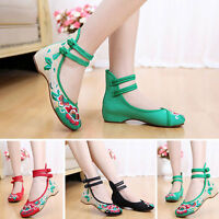 Women Embroidery Chinese Style Dichotomanthes Bottom Flat Low Heel Lifed Shoes