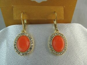 NWT MONET GOLD & FAUX CORAL with CLEAR RHINESTONES OVAL DANGLE EARRINGS