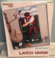 "Latch Hook Kit Wonder Art #4112 Nostalgic Golfer 16""x32"" Needlework Craft Kit"
