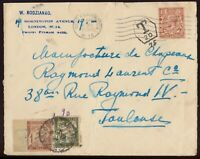 GB 1930 Postage Due Cover - London W14 to France (Paddington Taxe Mark P-1-20)