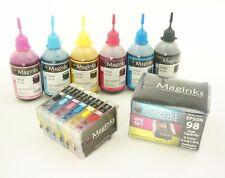 NON-OEM Refillable Cartridges  For Epson 98 Artisan 725 730 835 837 + 600ml ink