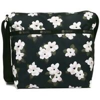 LeSportsac Newport Floral Small Cleo Crossbody Handbag, Black Bag, Flowers NWT