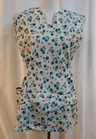 Vintage 50s/60s Full Length Apron With Large Pockets Blue Floral Rickrac Trim