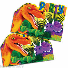 Pack of 8 Dinosaur Prehistoric Party Invitations and Envelopes