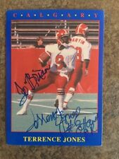 signed in person  TERRENCE JONES  CFL  CALGARY STAMPEDERS  JOGO # 37    1990