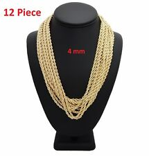 "12 Piece Rope Chain Necklace 4mm 18"" 20"" 22"" 24"" 26"" 30"" Gold Finish Wholesale"