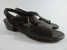 SAS Suntimer Tripad Comfort Brown Leather Croc Embossed Sandals Womens Size 11 S