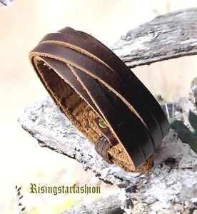 Men Cool Motorcycle Rider Surfer Characters Hip Hop Fashion Leather Wristband