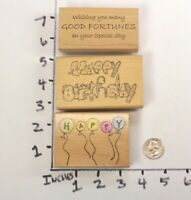 Wooden RUBBER STAMP Block Lot Happy Birthday Greetings Ballons