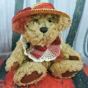 "Rosie Teddy Bear Plush 10"" Stuffed Animal Vintage Brass Button Collectibles"