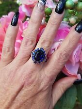 7ctw Oval Iolite Oval & Round Hali Ring, Sterling Silver, Size 7