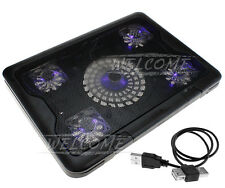 """FANS 10-17"""" LAPTOP NOTEBOOK PAD COOLING COOLER STAND BLUE LED EXTRA USB PORT"""""""