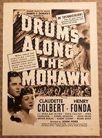 RARE Vintage 1939 DRUMS ALONG THE MOHAWK AD Claudette Colbert Henry Fonda MORE