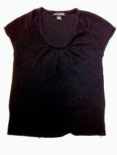 Womens BANANA REPUBLIC Black Knitted Top Extra Fine Italian 100% Merino Wool XS