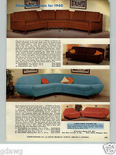1960 PAPER AD 2 Sided Kenmar Casual Mid Century Modern Sectional Sofa Couch WOW!