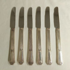 Wm Rogers IS Fidelis: 6 French Grille Knives, Silverplate Flatware 1933 Art Deco