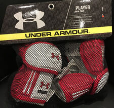 Men/Boy's Under Armour Player Lacrosse White/Red Arm Pads Large (New)