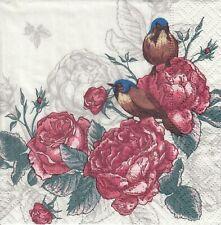 4 Cocktail Paper Servietten Napkins (ooA12) Vögel und Rosen