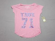 TRUE RELIGION WOMENS PINK SEQUIN LOGO RELAX LOOSE FIT T SHIRT SIZE XS X SMALL