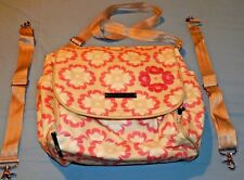 Petunia Pickle Bottom Pink Vinyl Backpack Diaper Bag & Changing Pad EX Used Cond