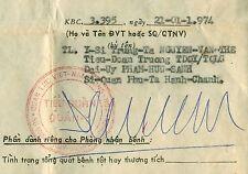 ARVN Marines 1974. Hospital Entry PHIẾU NHẬP VIỆN TQLC KBC 3395