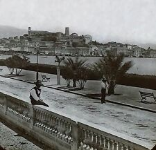 Quay Massena, Nice France, Vintage Magic Lantern Glass Slide