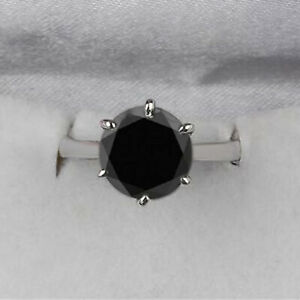 AA Natural Black Diamond 4.60Ct Round Cut Solitaire Ring In 925 Sterling Silver
