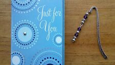 2 Purple Beaded Metal Bookmarks + Card ~ Makes a nice gift!