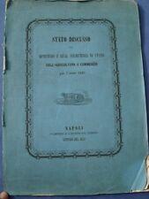 BORBONICA-NAPOLI 1849 STATO DELL'AGRICOLTURA-COMMERCIO-FORESTE-SCUOLE NAUTICHE..