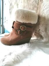 ZIPPYBOOT TAN SUEDE FUR LINED BOOTS WITH A WEDGE HEEL & BUCKLE DETAIL UK SIZE 5