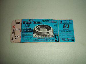 1971 WORLD SERIES BALTIMORE ORIOLES VS PITTSBURGH PIRATES GAME 4 TICKET STUB