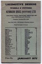 "1975 Vintage UK Catalog: ""LOCOMOTIVE DESIGNS - WHEELS & FITTINGS"""