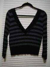 Guess Jeans Authentic Big V-neck Black and Gray Stripes sweater size S  Layers