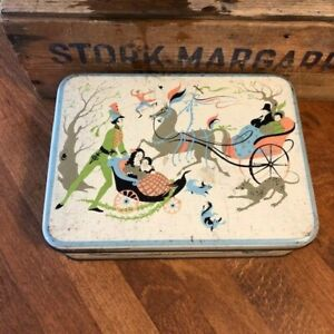 Vintage Colourful Romary's Biscuit Tin – Horse & Carriage – Great! –