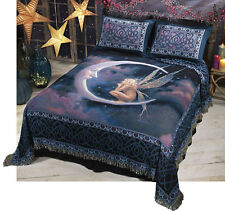 "Fairy On The Moon ~ Queen Woven Tapestry Bedspread 90""x90"""