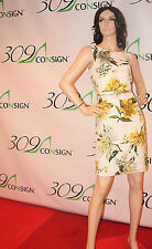 PREMISE 10 Medium Yellow Green White Floral Gold Belted Linen Sheath Dress M
